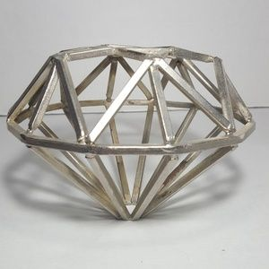 Silver Metal Diamond Shaped Coffee Table Art Decor
